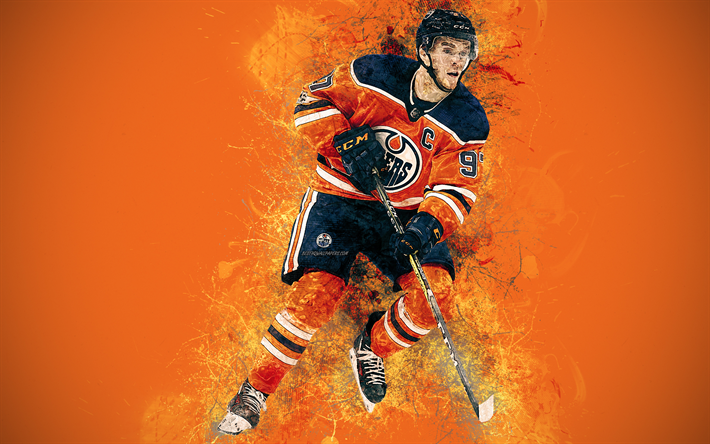 Download Wallpapers Connor Mcdavid 4k Art Canadian Hockey Player Grunge Style Edmonton Oilers Paint Art Nhl Usa Creative Art Hockey Orange Grunge Bac Connor Mcdavid Sports Wallpapers Mcdavid