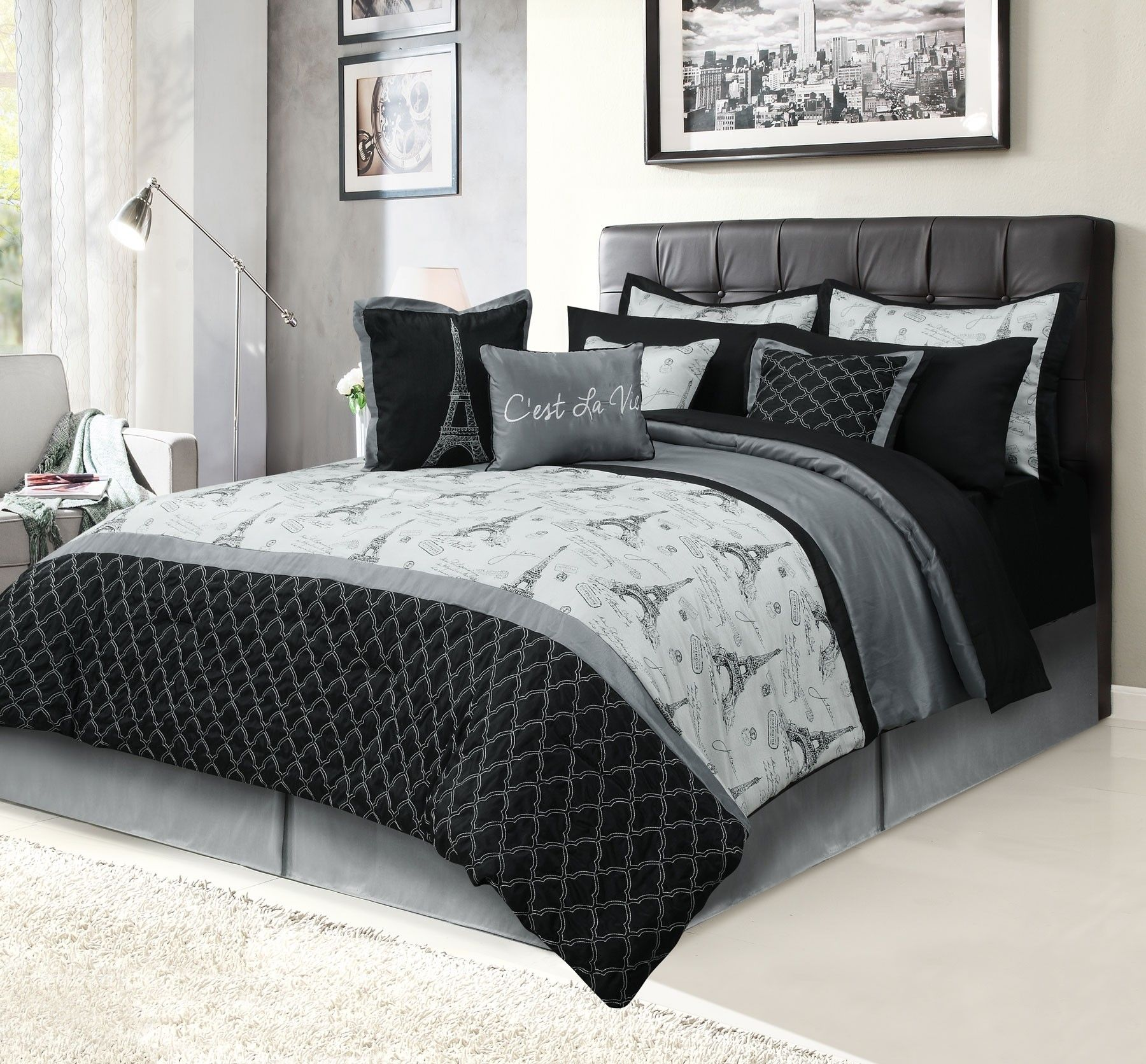 Beatrice C Est La Vie Paris Bedding Queen 12 Piece Bedding Bed In A Bag Set Black And Gray Paris Bedding Bed Linens Luxury Comforter Sets