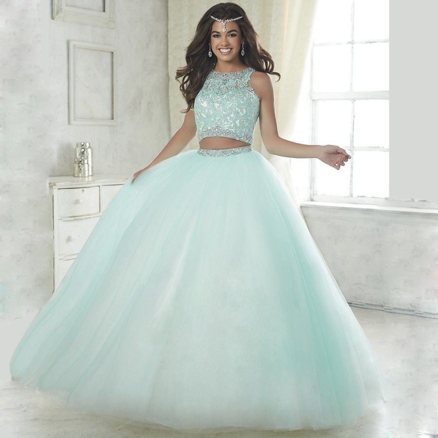 Find More Quinceanera Dresses Information about Elegant baby blue two piece quinceanera  dresses 2016 ball gown beaded vestidos de 15 anos debutante blush ... c2172be8eebe