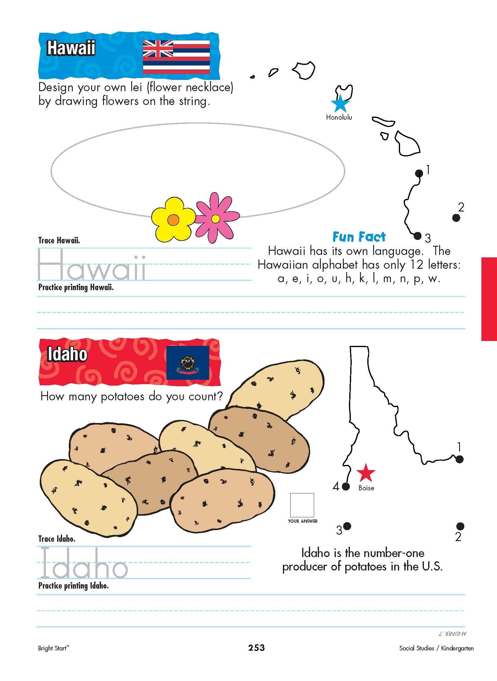 Hawaii And Idaho Your Kindergartener Can Practice Writing The State Name And Learn The State