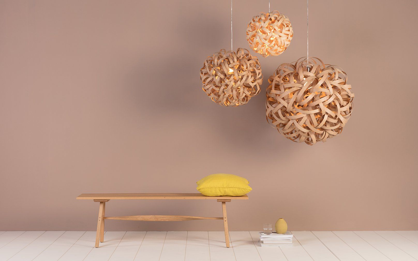 A Trio Of Wooden Pendants From The Tom Raffield No 1 Lighting Range Look Eye Catching Against A Blush Toned Backdrop Blush Tones Tom Raffield Lighting B