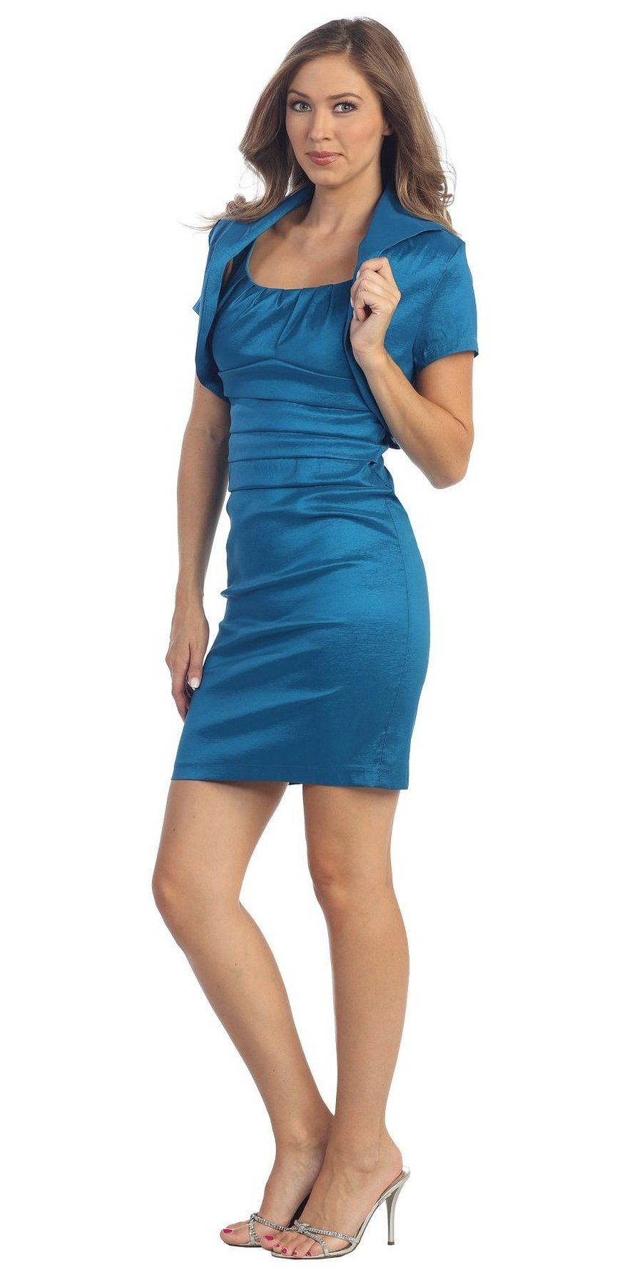 Clearance simple short teal blue dress fitted tight includes
