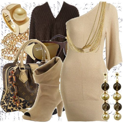 brown and gold...minus the shoes & bag