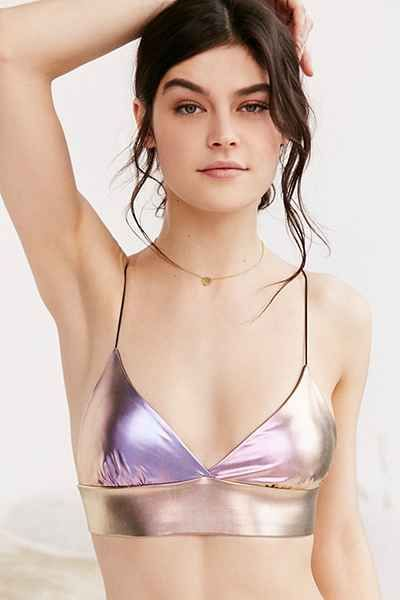cbe1a7924c132 UrbanOutfitters.com  Out From Under Skinny Strap Metallic Bra Top -  29  Size Small!
