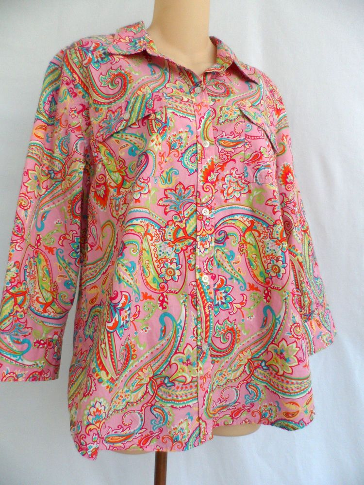 10f0979e US $19.99 Pre-owned in Clothing, Shoes & Accessories, Women's Clothing, Tops  & Blouses. Chaps Classics Button Front 3/4 Sleeve Shirt Blouse Pink Multi  Color ...