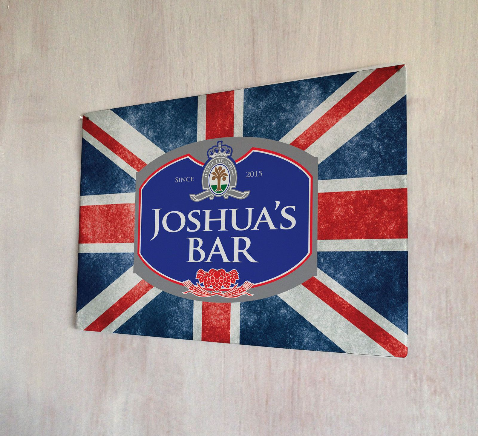 b186d0036d22 Personalised Union Jack Beer Label Metal Plaque Sign Pubs And Clubs Man Cave