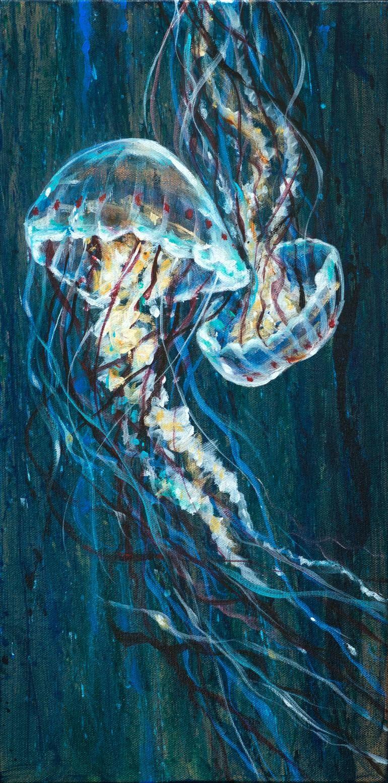 Original Seascape Painting by Linda Olsen | Documentary Art on Canvas | Jellyfish Duo