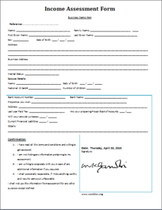Income Assessment Form Download At HttpWwwTemplateinnCom