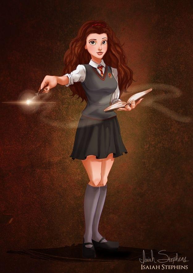 Belle as Hermione Granger | 11 Disney Princesses Re-Imagined As Pop Culture Heroines