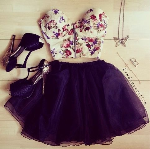 Floral Bustier and Black Poofy Skirt