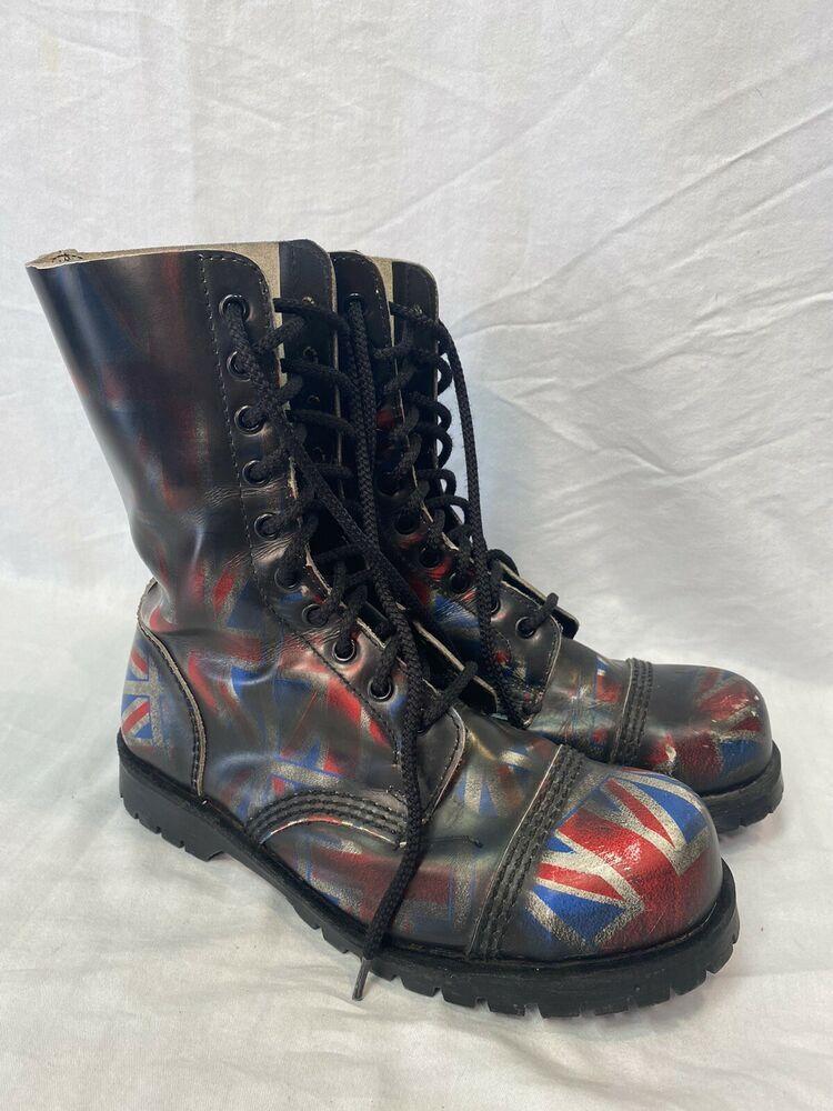 Underground Boots Of England Boots Uk Size 6 Us 8 Women 6 5 Men Union Jack Flag Underground Combat Boots Boots Uk Combat Boots