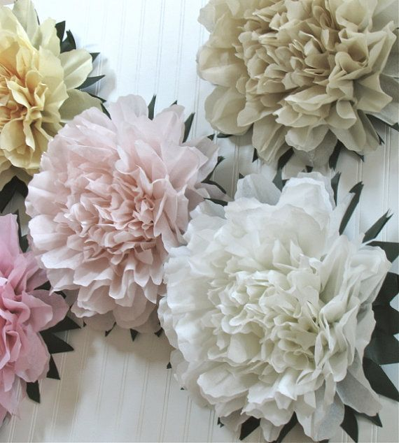 Lucky Peony 5 Giant Tissue Paper Flowers Wedding By Whimsypie