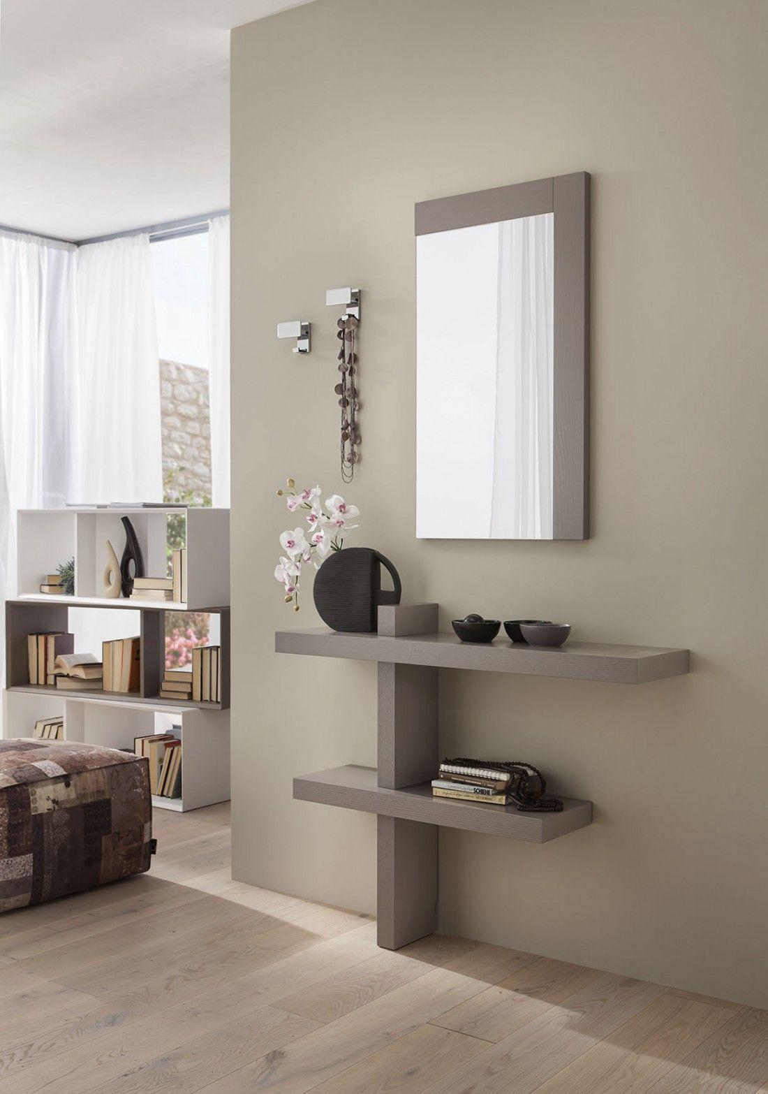 Composizione Del Colore Tortora consolle mobile ingresso a terra e specchio design moderno