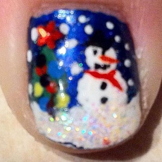 My thumb from my first christmas nail attempt