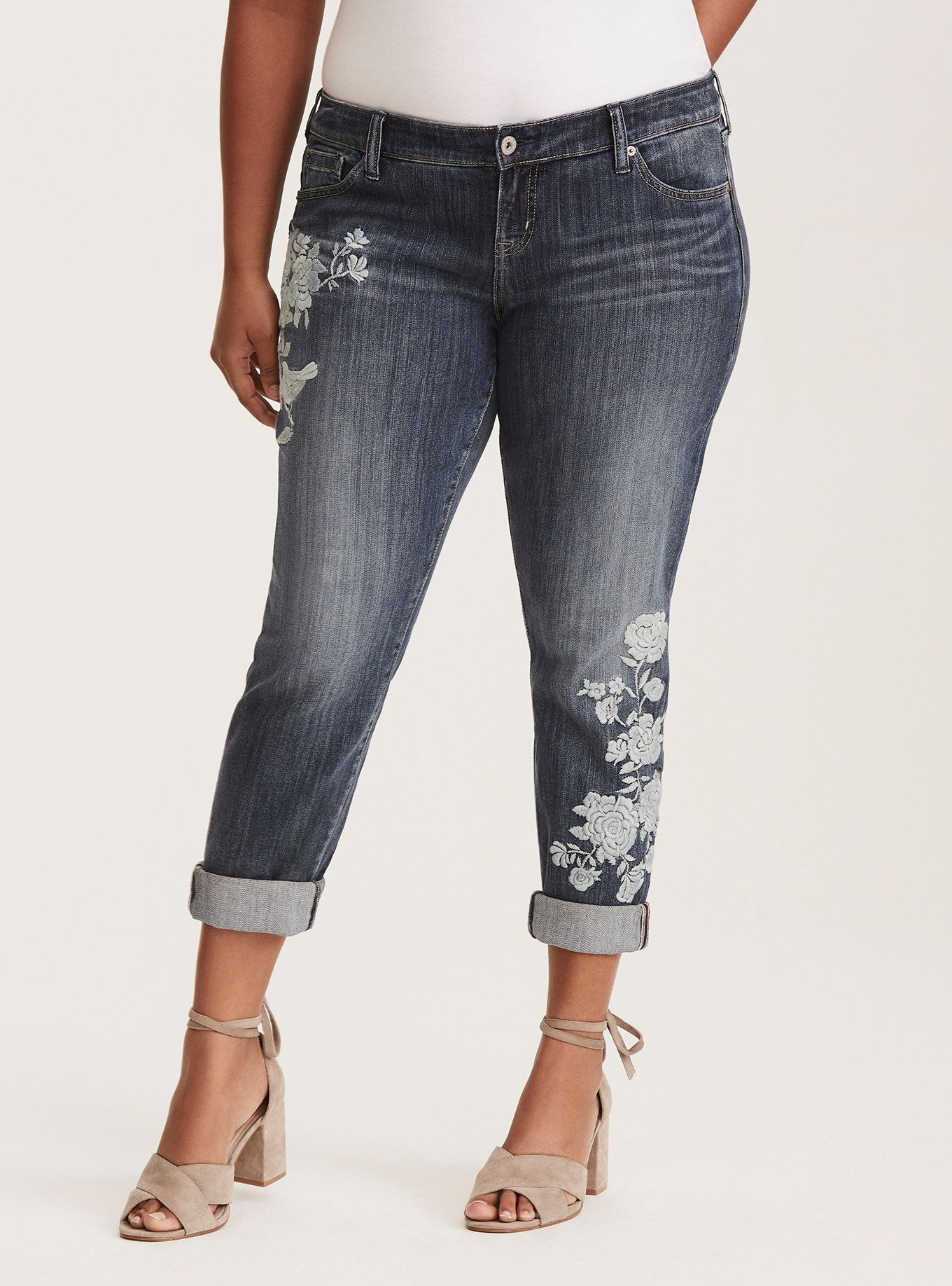 345688ef750 Torrid Vintage Premium Boyfriend Jeans - Medium Wash with Floral Embroidery