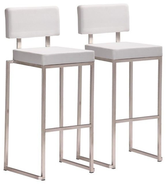 Nice Modern White Bar Stool Bar Stool Set Of 2 Contemporary Bar Stools And Counter Stools Contemporary Bar Stools White Bar Stools Stainless Steel Bar Stools