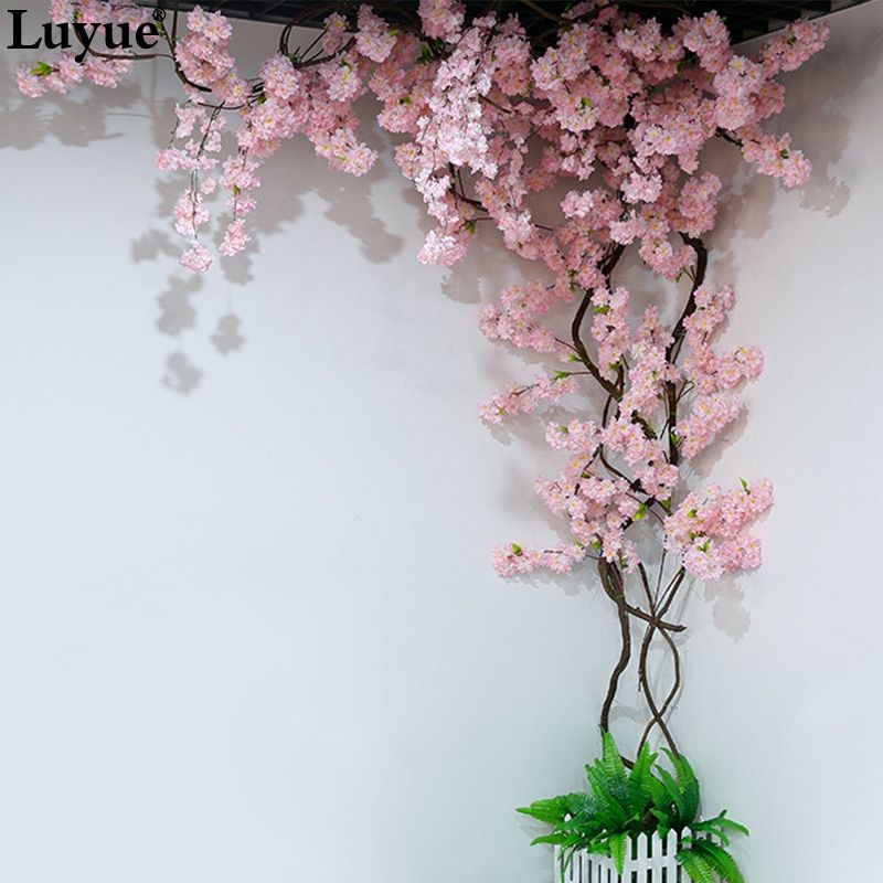 5 Pieces Branch Artificial Flowers Cherry Blossoms Balcony Bedroom With Decorated View Dead Rattan Peach Bran Artificial Flowers Flower Warehouse Dried Flowers
