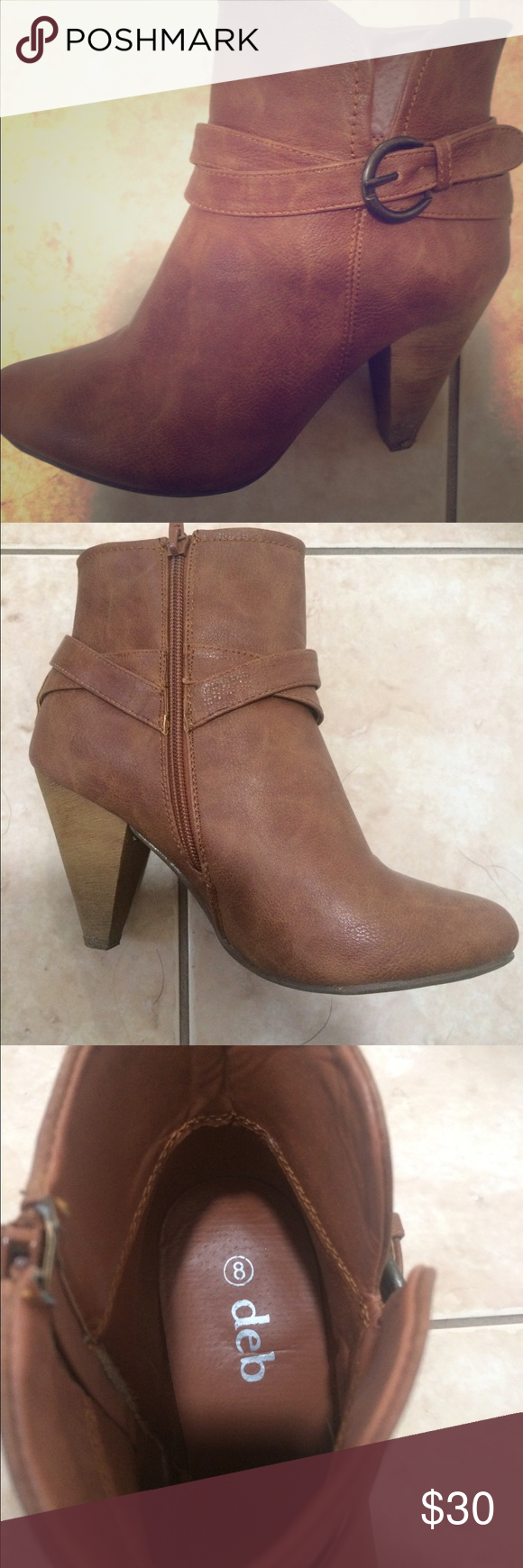 Brown faux leather booties Brown faux leather size 8 booties. Zip closure. Buckle and strap design. Worn once. Perfect condition. Faintest sign of the one time wear (see photo 4). Super cute and stylish. Deb Shoes Ankle Boots & Booties