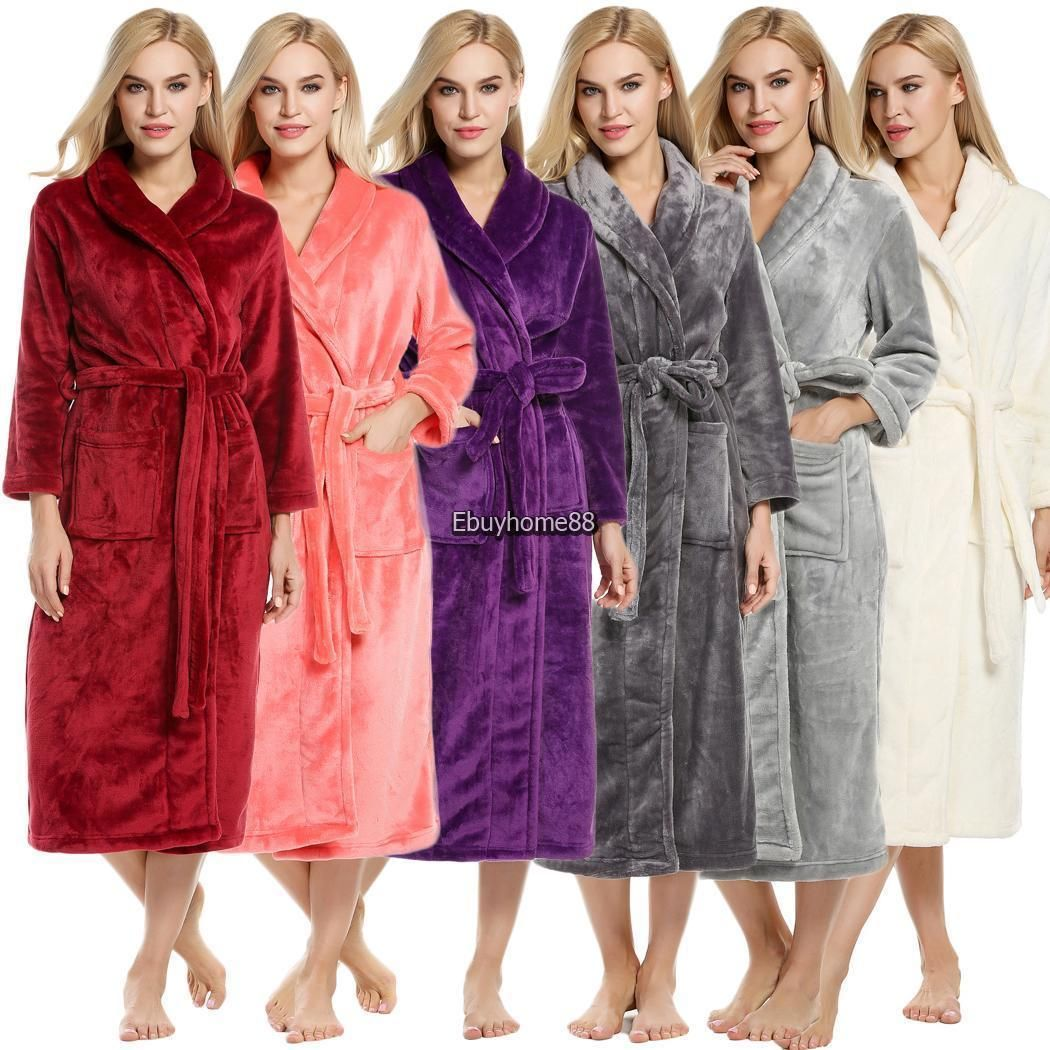Women Shawl Collar Long Sleeve Soft Plush Bathrobe Sleepwear Long Robe EHE8  03  Bathrobe   5cb376f49