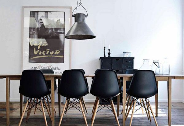 black eames chair poly resin rocking chairs the eiffel look great with wood legs and dining table