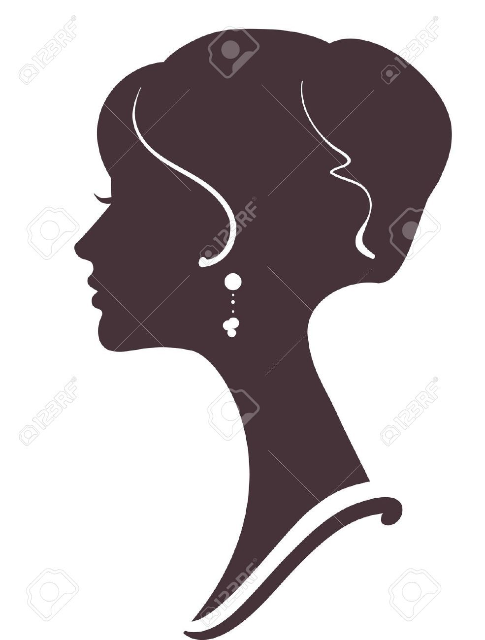 fbf514824e0 Beautiful Girl Silhouette With Stylish Hairstyle Royalty Free Cliparts,  Vectors, And Stock Illustration. Image 12495494.