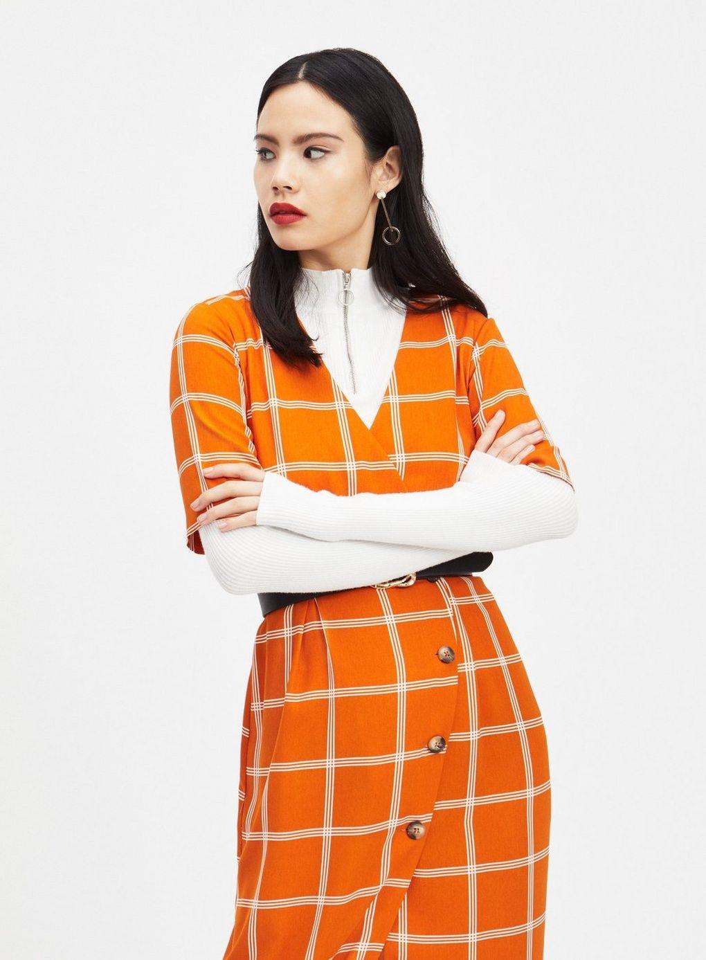 68243d53e49 Rust Windowpane Check Midi Dress - Clothing - New In - Miss Selfridge