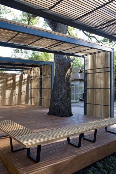 shade structure  trellis  wood  steel  pod  outdoor room
