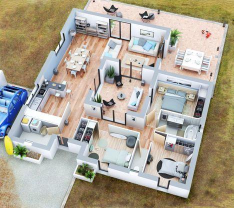 Maison Villa Patio - Couleur Villas Faire construire sa maison - plan de maison de 100m2 plein pied
