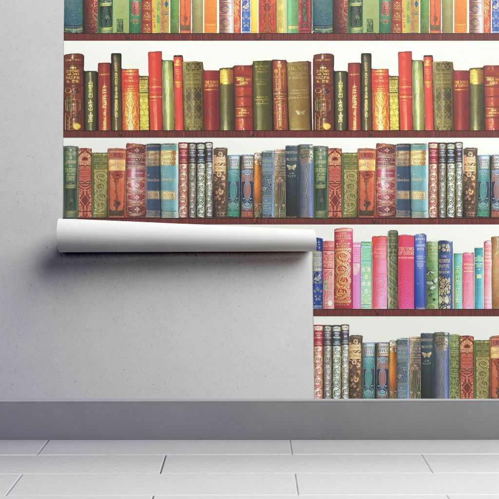 Removable Water-Activated Wallpaper Books Book Library Vintage Literary