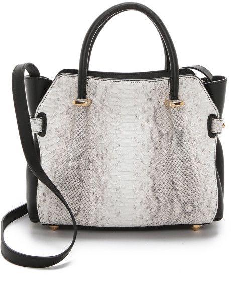 Python Pleated Leather Handbag with Buckled Straps Trim by Nina Ricci