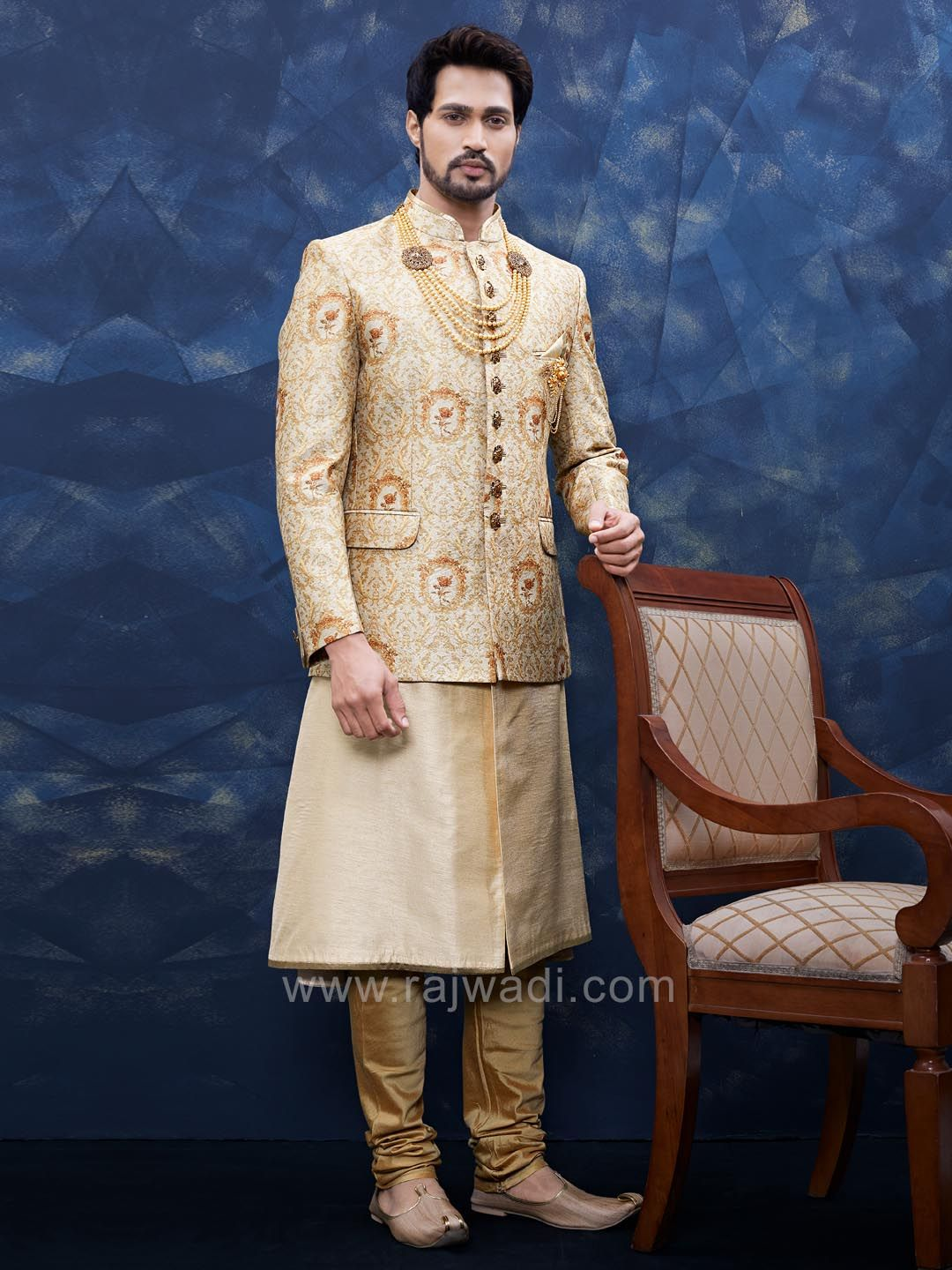 Golden color sherwani with fancy broach indian suits pinterest