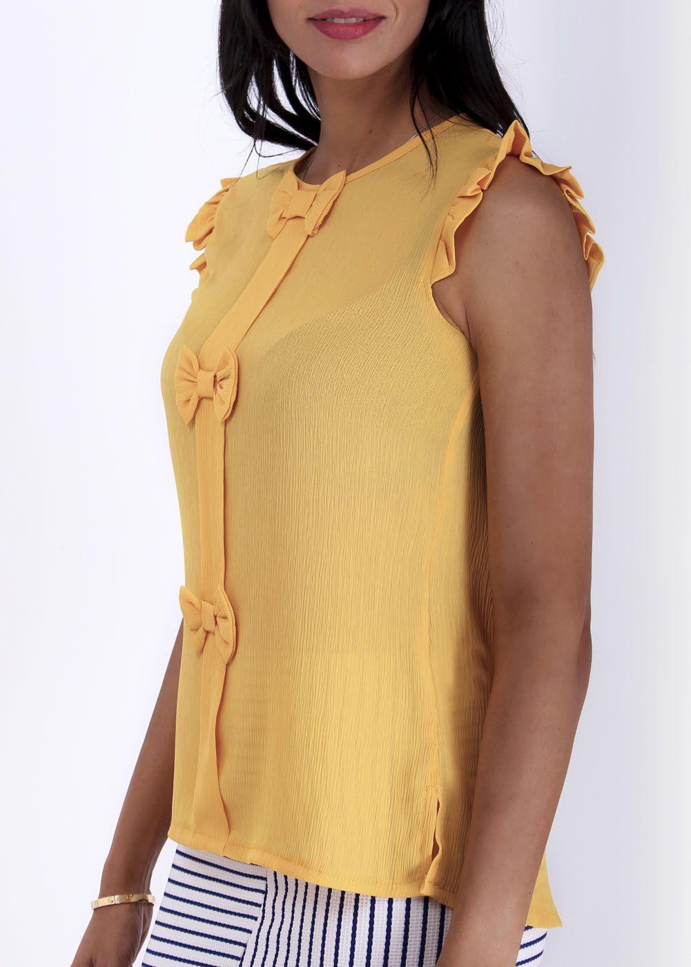 Blusa Bambula Lazos Amarilla