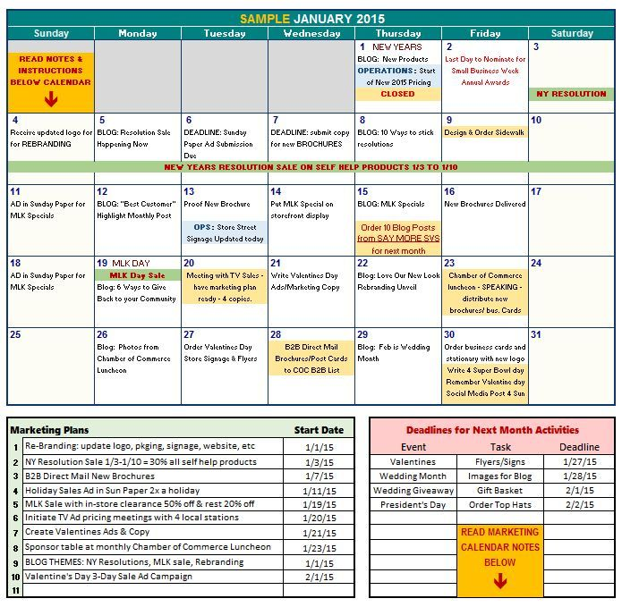 FREE 2015 Marketing Calendar Template SAY MORE! Services MBA