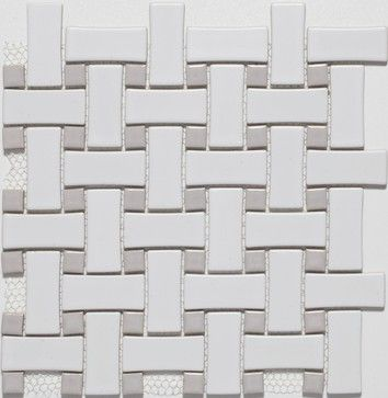 Ceramic White Grey Basketweave Mosaic Tiles Contemporary Floor
