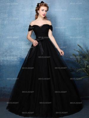 Black Off-the-Shoulder Princess Style Gothic Wedding Dress  cd0c175882d0
