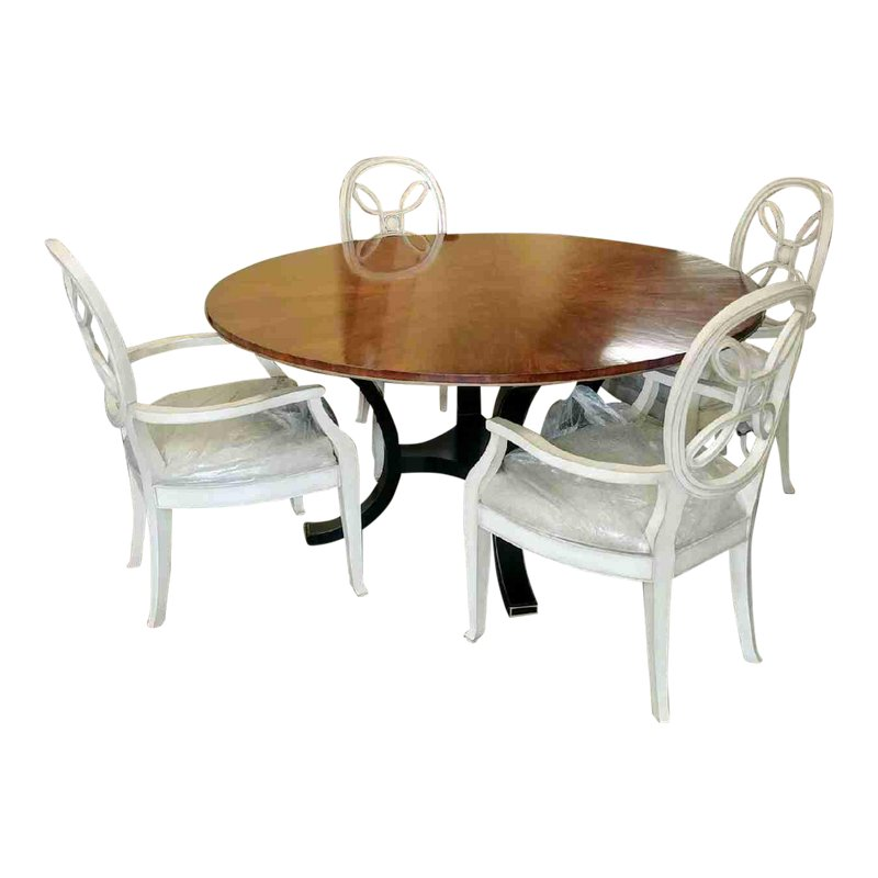 Country Henredon Furniture Acquisitions Paris Yvon Round Dining Set 5 Pieces Round Dining Set Round Dining Dining