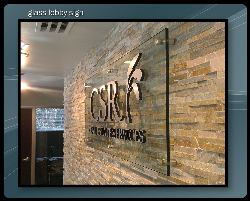 Interior signage lobby signs etched glass corporate for Interior design signs