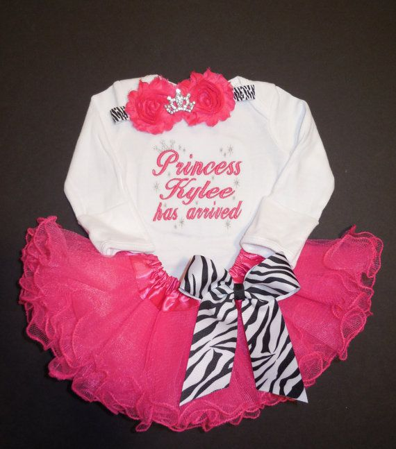 The Princess has arrived embroidered newborn by LittleQTCouture, $56.00