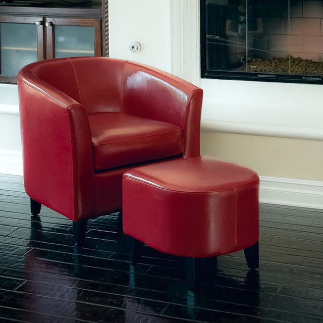 Charmant Red Living Room Chair Astoria Red Leather Club Chair Ottoman Set Modern Living Room  (640×640)