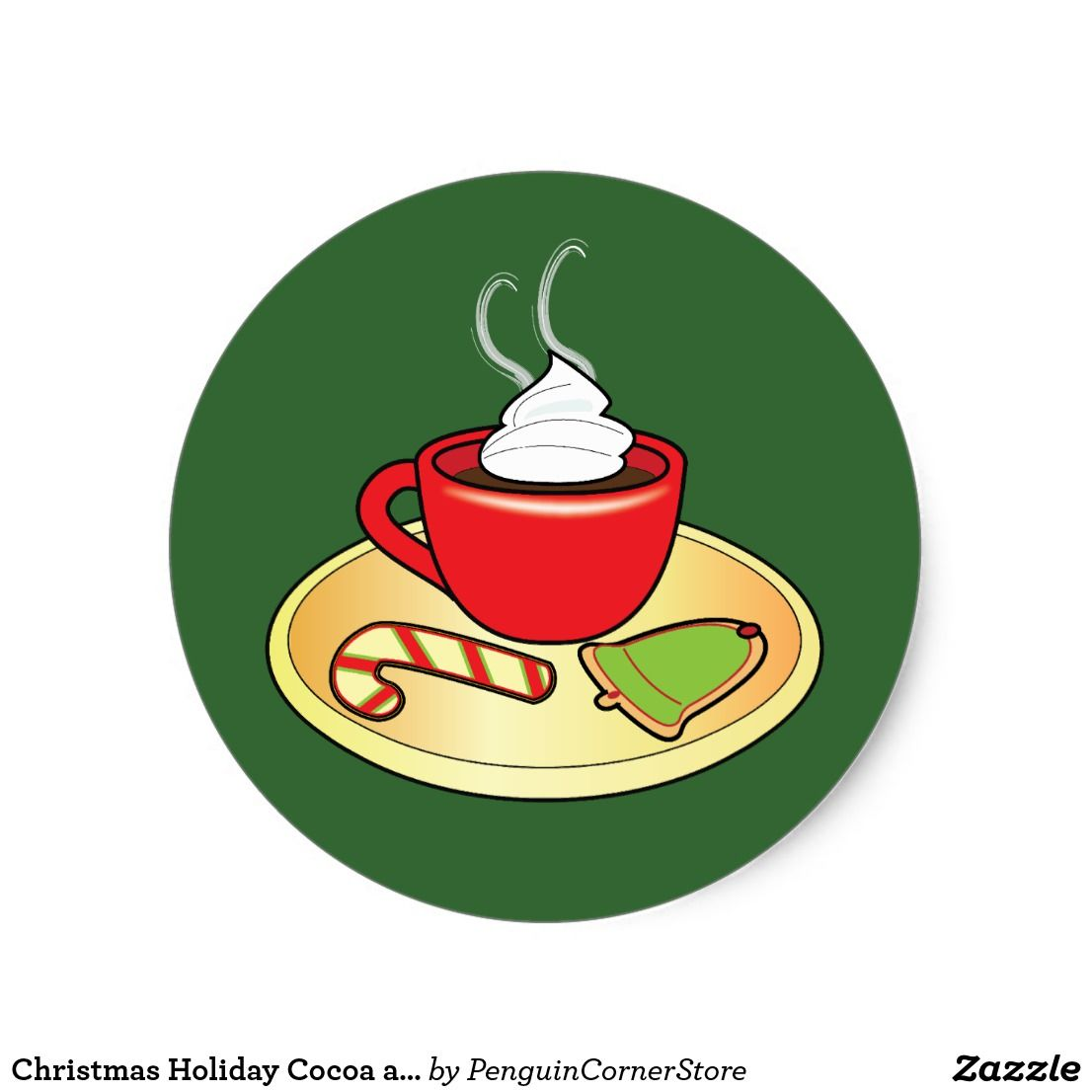 Christmas Holiday Cocoa And Cookies Classic Round Sticker