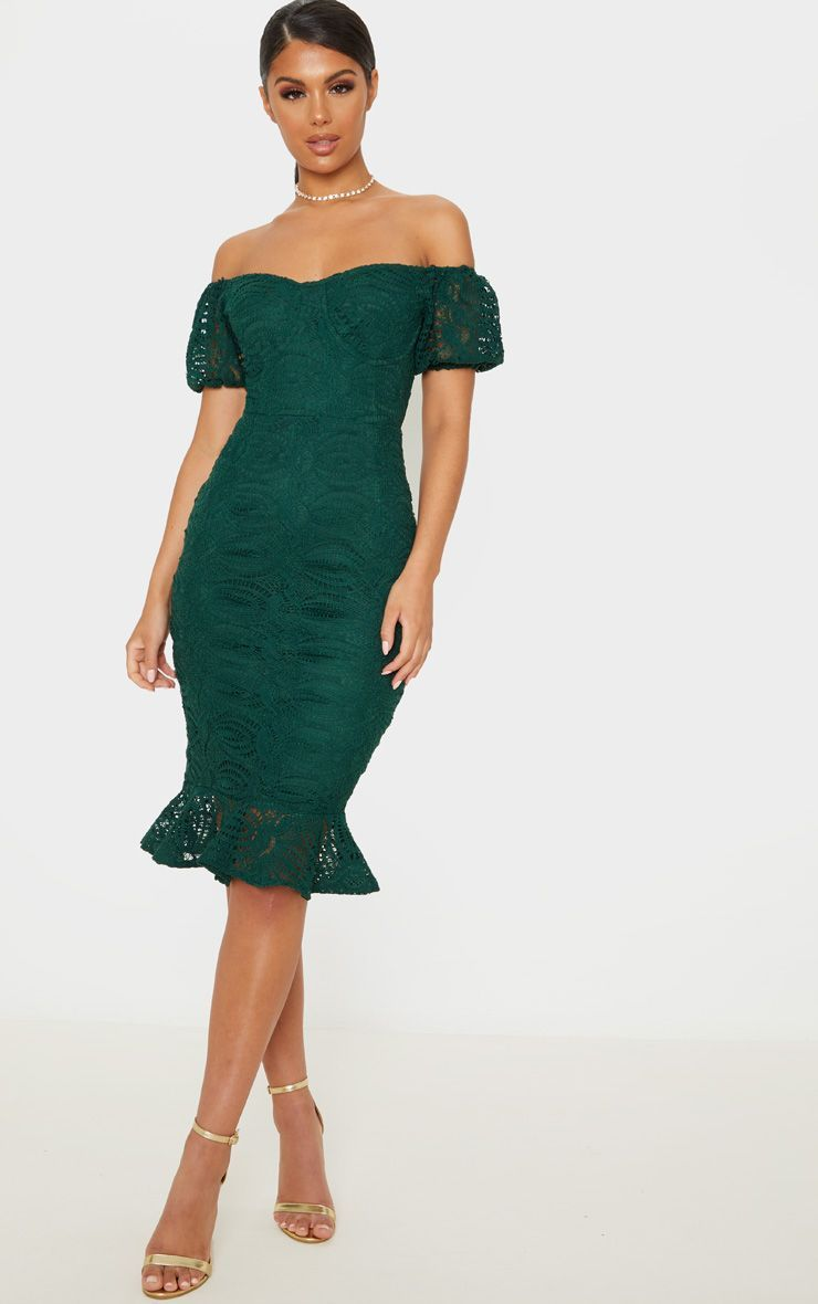 Emerald green cup detail lace bardot midi dress in 2020