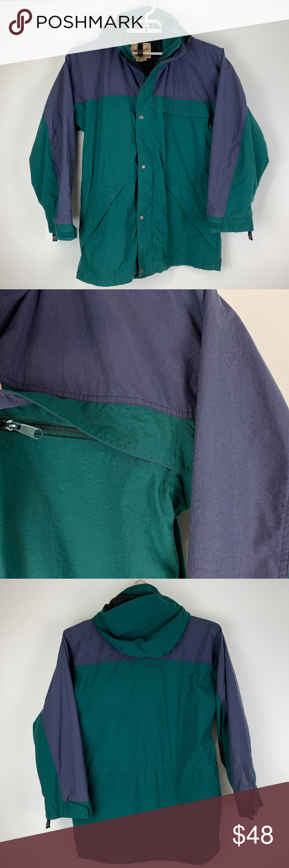 Woolrich Mens Blue Green Jacket Hooded Medium EUC Green