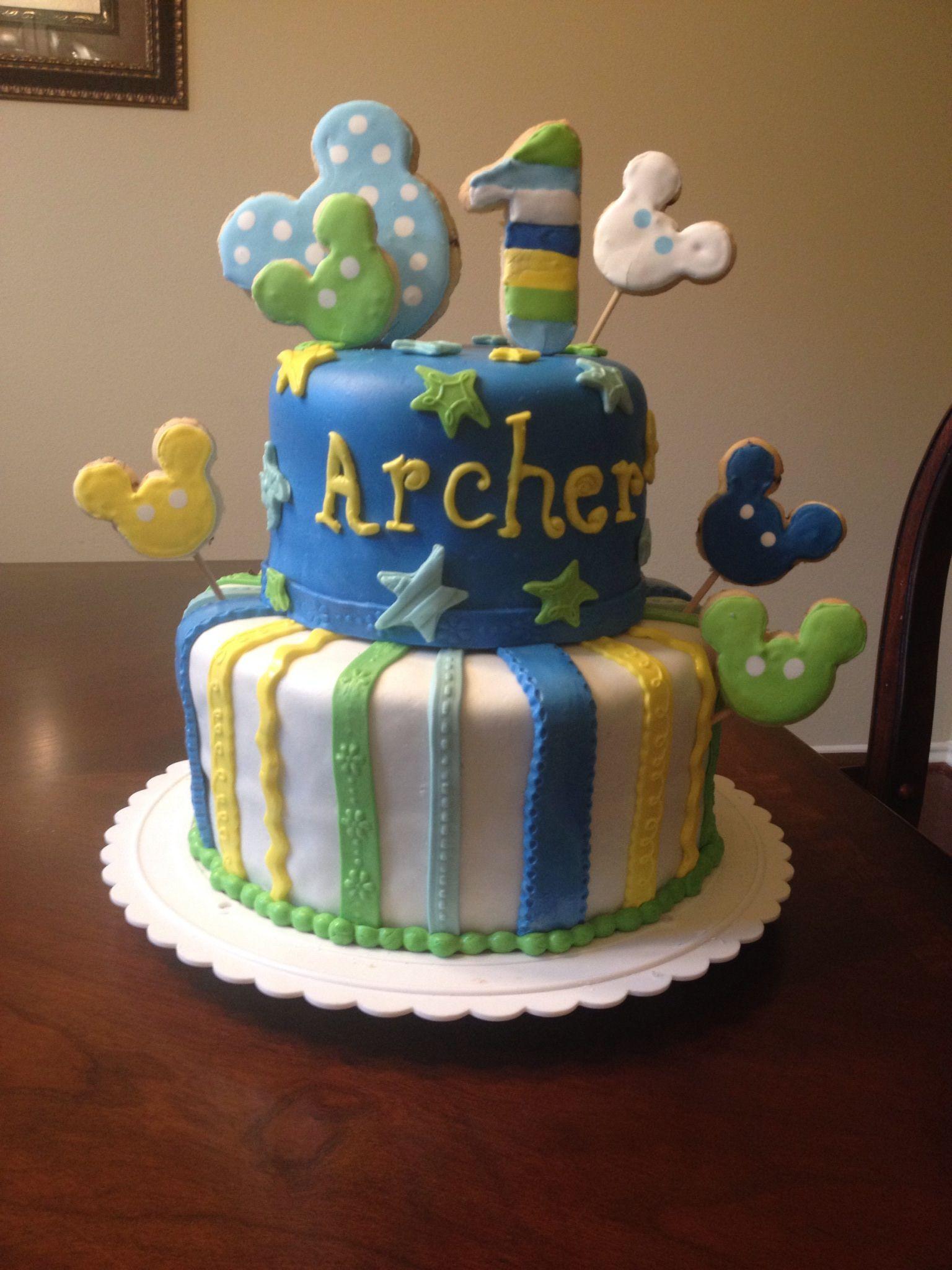 Baby Mickey First Birthday Cake Boy Birthdays Pinterest Cake