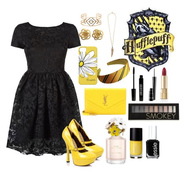 """""""I'm a hufflepuff"""" by fallinginfinite ❤ liked on Polyvore featuring Maje, Yves Saint Laurent, Stella & Dot, Roberto Cavalli, Forever 21, Dolce&Gabbana, Lord & Berry, MAC Cosmetics, Marc Jacobs and Essie"""