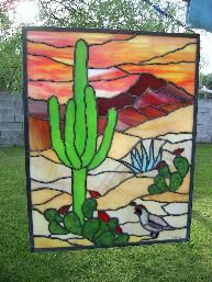 Glass desert sunset. #StainedGlassCactus | Stained glass ...