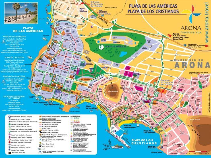 Los Cristianos and Playa de las Am ricas tourist map Maps Pinterest