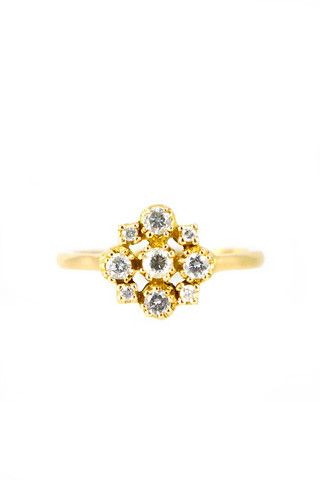 Conroy & Wilcox 18k Yellow Gold Marie Antoinette 9 Diamond Ring