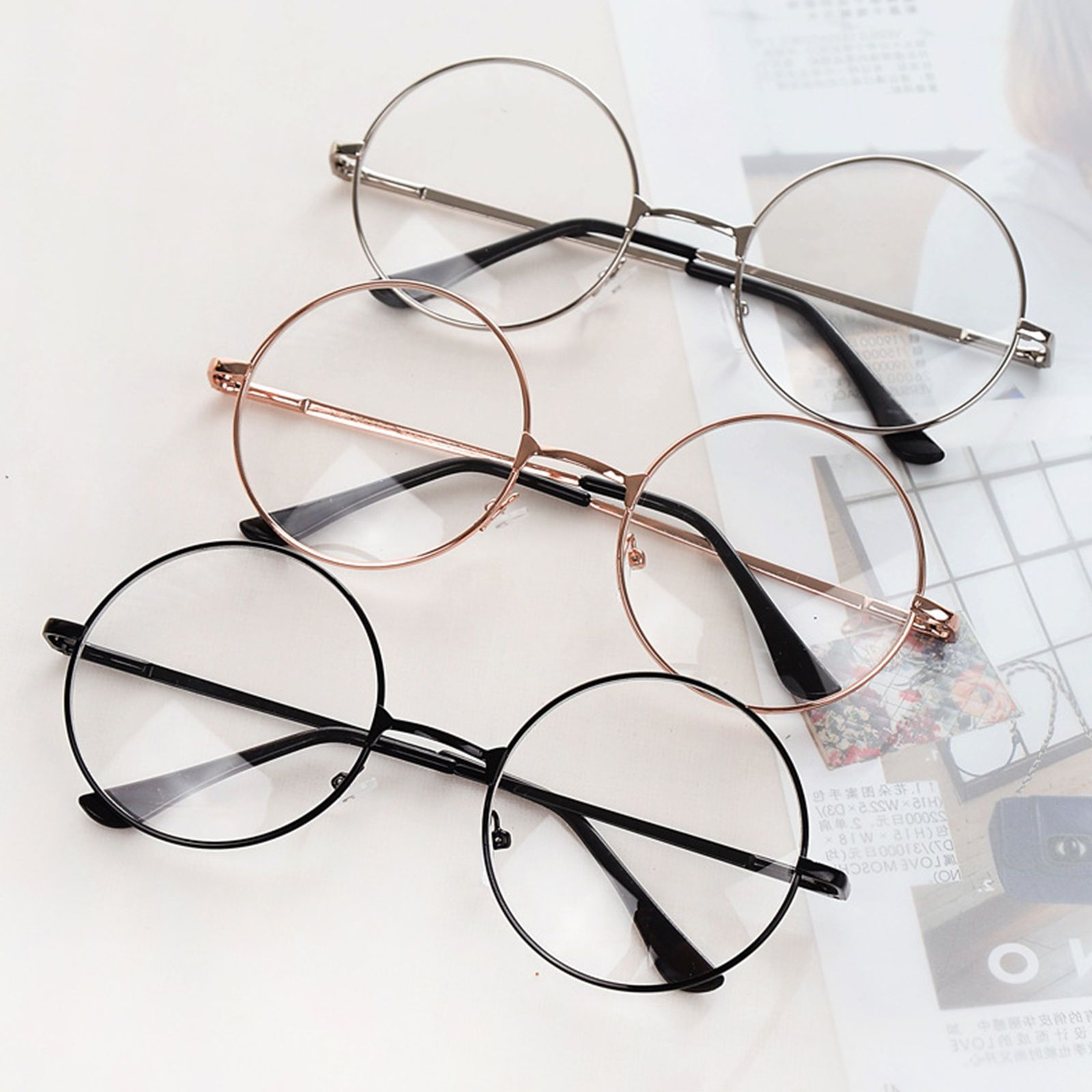 bac985ada4 Best Retro Eyeglasses Big Round Metal Frame Clear Lens Glasses Nerd  Spectacles
