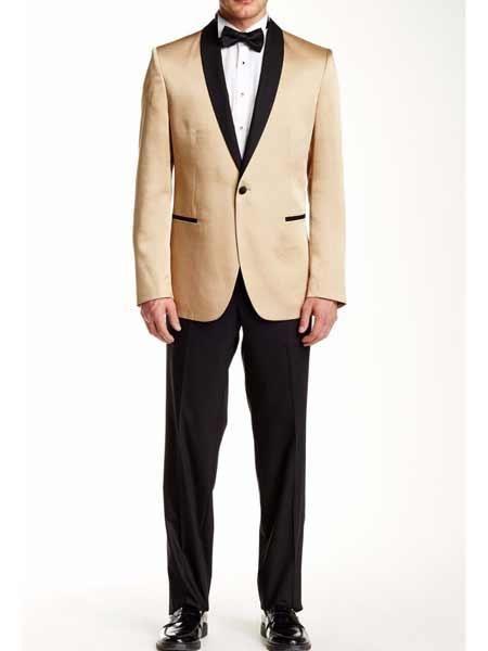 51771f641 Men Gold Tuxedo Contrast Lapel Black Shawl Collar 2 Toned Dinner ...