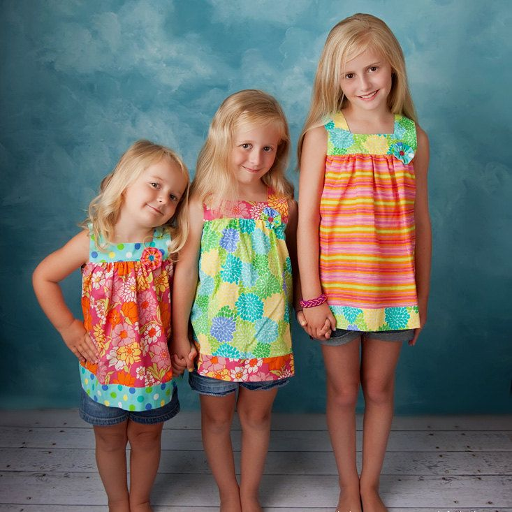 Girls Dress Pattern and Top Pattern - Square Neck Top and Dress ...